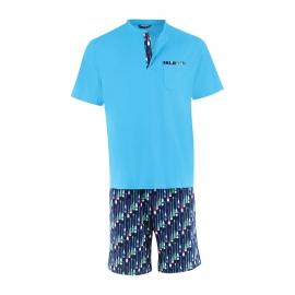 Pyjama court Eminence en jersey de coton : Tee-shirt col tunisien turquoise et short bleu marine à motifs pagaie de paddle