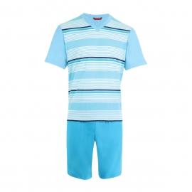 Pyjama court Eminence en jersey de coton mercerisé : Tee-shirt col V turquoise à rayures et short turquoise