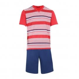 Pyjama court Eminence en jersey de coton mercerisé : Tee-shirt col V rouge à rayures et short bleu marine