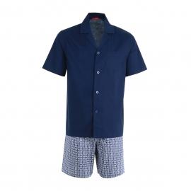 Pyjama court Eminence en popeline : Veste boutonnée manches courtes bleu marine et short bleu marine à motifs quadrillés blancs