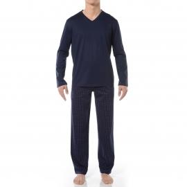 Pyjama long HOM Francisco : Tee-shirt col V manches longues bleu marine et pantalon bleu marine à petits losanges roses