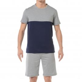 Pyjama court HOM Wiz : Tee-shirt col rond gris à empiècement bleu marine et short gris