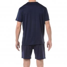 Pyjama court HOM Francisco : Tee-shirt col V bleu marine et short bleu marine à pois roses