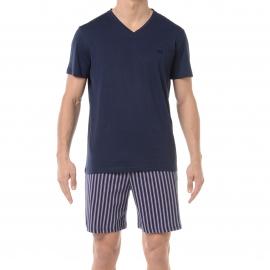 Pyjama court HOM Paul : Tee-shirt col V bleu marine et short à rayures parme et bleu marine