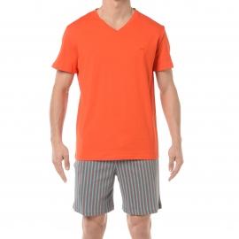 Pyjama court HOM Paul : Tee-shirt col V orange et short à rayures grises, turquoise et orange