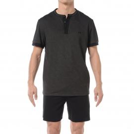 Pyjama court HOM Theo : Tee-shirt col tunisien en coton effet jean noir et short uni noir