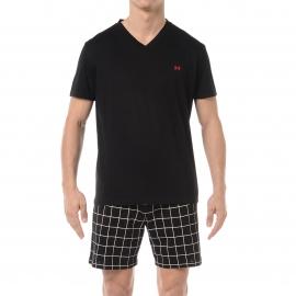 Pyjama court HOM Raphael : Tee-shirt col V noir et short noir à carreaux blancs