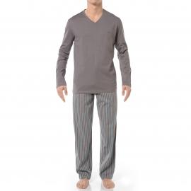 Pyjama long HOM Paul : Tee-shirt col V manches longues  gris et pantalon à rayures grises, turquoise et orange