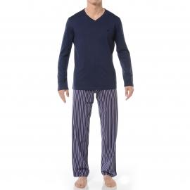 Pyjama long HOM Paul : Tee-shirt col V manches longues bleu marine et pantalon à rayures bleu marine et parme