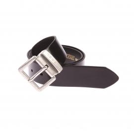 Ceinture Beres Diesel en cuir noir lisse à boucle métallique argentée et patinée