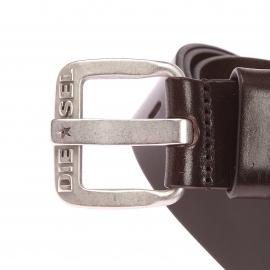 Ceinture B-Star Diesel en cuir marron à boucle rectangulaire argentée gravée