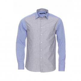 Chemise cintrée Gianni Ferrucci en fil à fil gris et empiècements à carreaux bleus et blancs