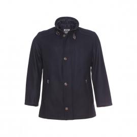 Manteau Bugatti en laine noire à empiècements en cuir marron