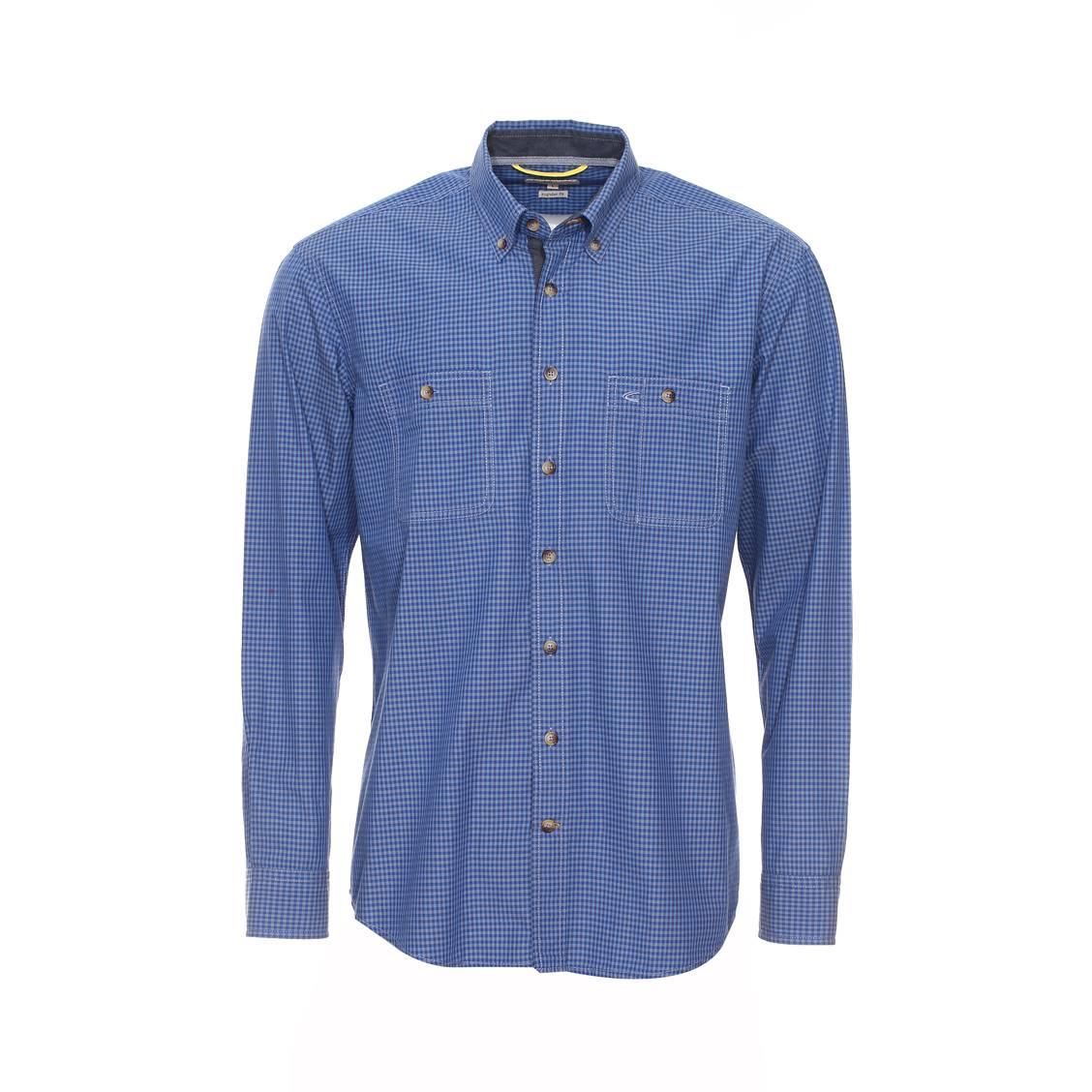 chemise droite camel active petits carreaux bleu marine gris et bleus rue des hommes. Black Bedroom Furniture Sets. Home Design Ideas