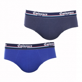 Lot de 2 slips Eminence Club en coton et modal stretch bleu indigo et bleu marine