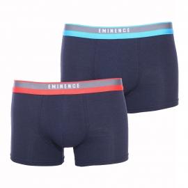 Lot de 2 boxers Eminence Cool et Chic en coton modal stretch bleu marine, ceinture turquoise et rouge