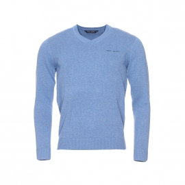 Pull col V Pulser Teddy Smith en coton bleu horizon chiné