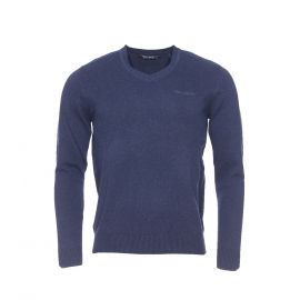 Pull col V Pulser Teddy Smith en coton bleu navy chiné