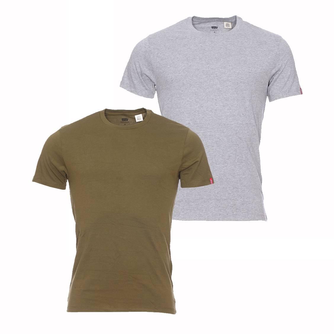 lot de 2 tee shirts col rond levi 39 s en coton gris chin et. Black Bedroom Furniture Sets. Home Design Ideas