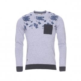 Pull col rond Pelican Teddy Smith gris chiné à motifs fleuris bleu pétrole et poche anthracite
