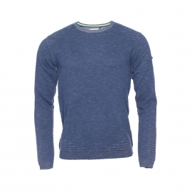 Pull col rond Phong Teddy Smith bleu indigo chiné effet vintage
