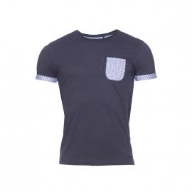 Tee-shirt Thaw Teddy Smith en coton bleu nuit, poche effet jean à pois noirs