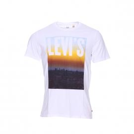 Tee-shirt col rond Levi's en coton blanc floqué d'une photo