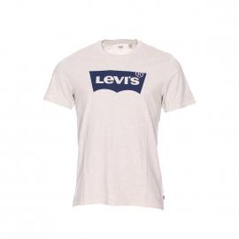 Tee-shirt col rond Levi's gris chiné floqué du logo en bleu marine