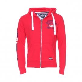 Sweat zippé à capuche Tokyo Superdry en coton rouge floqué