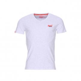 Tee-shirt col V Superdry Orange Label Vintage en coton doux gris clair chiné