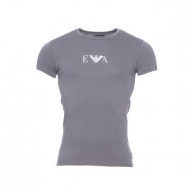 Tee-shirt col rond Emporio Armani en coton stretch gris à logo blanc