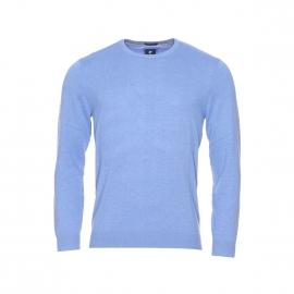 Pull col rond Pierre Cardin en coton et soie bleu clair