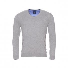 Pull col V Pierre Cardin en coton et soie gris clair