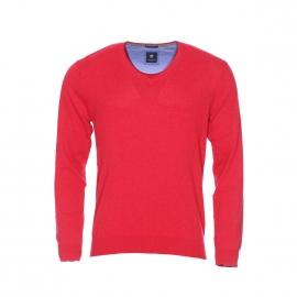 Pull col V Pierre Cardin en coton et soie rouge
