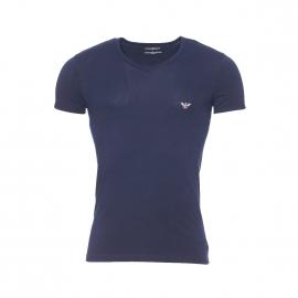 Tee-shirt col V Emporio Armani bleu marine en coton stretch, logo Eagle au dos