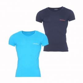 Lot de 2 tee-shirts col V Emporio Armani turquoise et bleu marine