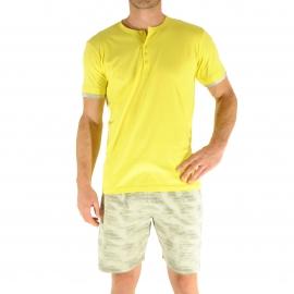Pyjama court Christian Cane Nubie : Tee-shirt col tunisien jaune poussin et short gris à rayures jaunes
