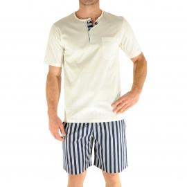Pyjama court Christian Cane Nathan : Tee-shirt col tunisien écru et short à rayures bleu marine et écrues