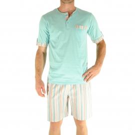 Pyjama court Christian Cane Nouméa : Tee-shirt col tunisien vert d'eau et short à rayures multicolores