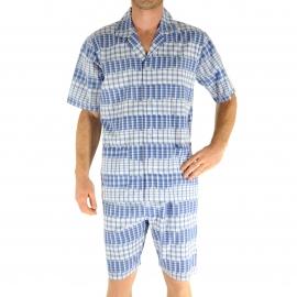 Pyjama court Christian Cane Newport :  Veste manches courtes boutonnée et short à carreaux blancs et bleu dur et rayures patinées
