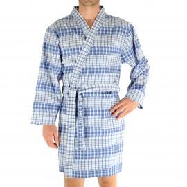 Kimono court Christian Cane Newport à carreaux bleu dur et blancs et rayures patinées