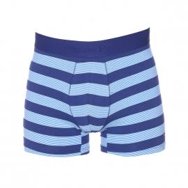 Boxer Eden Park en coton stretch bleu à rayures horizontales turquoises et bleu clair
