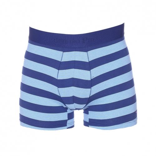Boxer  en coton stretch bleu � rayures horizontales turquoises et bleu clair