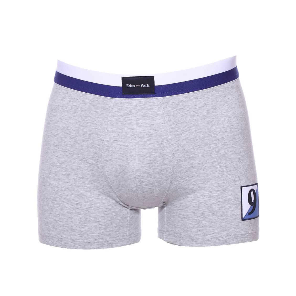 Boxer  en coton stretch gris clair à écusson bleu et blanc