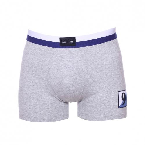 Boxer  en coton stretch gris clair � �cusson bleu et blanc