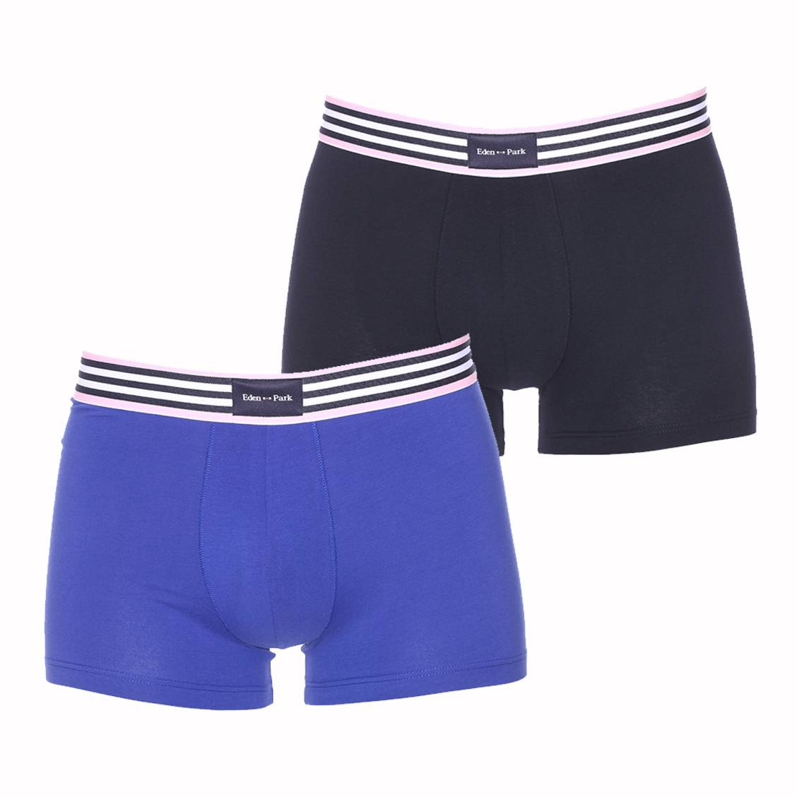 Lot de 2 boxers  en coton bleu marine et bleu �lectrique