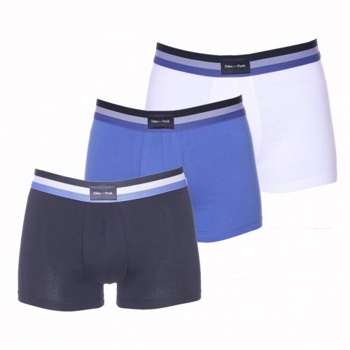 Lot de 3 boxers  en coton bleu marine, bleu indigo et blanc