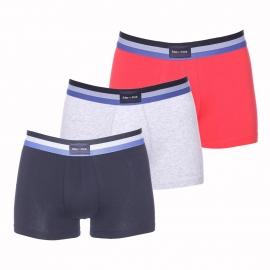 Lot de 3 boxers Eden Park en coton bleu marine, gris et rouge