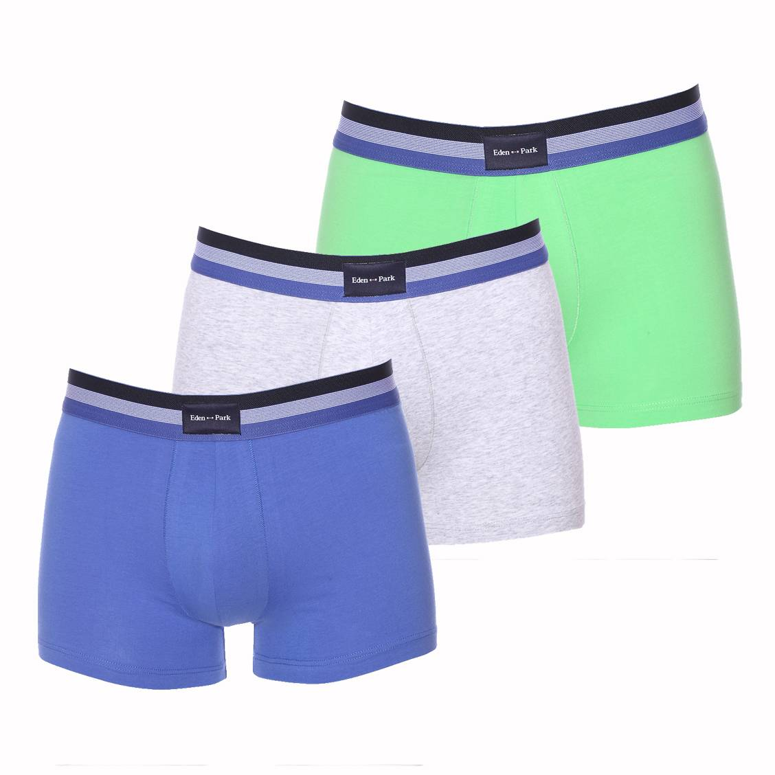 Lots de 3 boxers  en coton bleu indigo, gris et vert