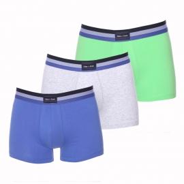 Lots de 3 Boxers Eden Park en coton bleu indigo, gris et vert